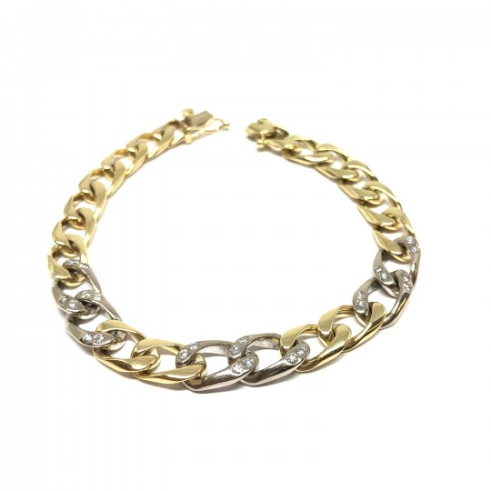 Bracelet or 18ct avec diamants